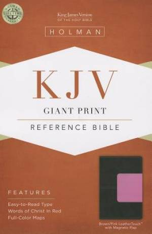 Kjv Giant Print Reference Bible, Brown/pink Leathertouch With Magnetic