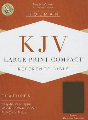 Kjv Large Print Compact Bible, Brown Genuine Cowhide