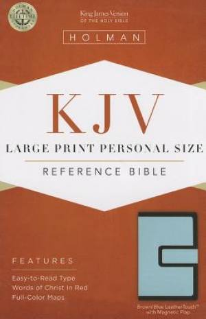 Kjv Large Print Personal Size Bible, Brown/blue Leathertouch With Magn