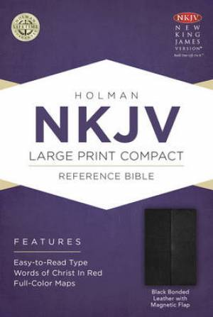 Nkjv Large Print Compact Reference Bible, Black Bonded Leather With Ma