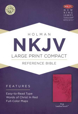 NKJV Compact Reference Bible Pink Imitation Leathe