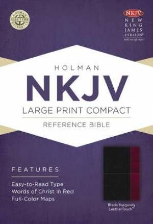 Nkjv Large Print Compact Reference Bible, Black/burgundy Leathertouch