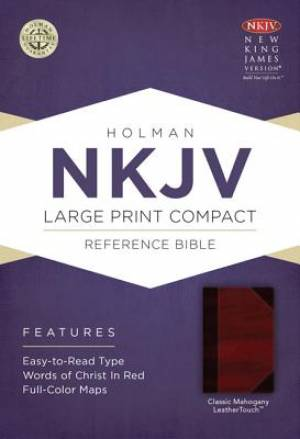 Nkjv Large Print Compact Reference Bible, Classic Mahogany Leathertouc