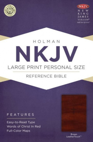 NKJV Large Print Personal Size Reference Bible, Brown Imitation Leather
