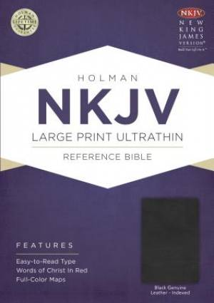 NKJV Large Print Ultrathin Reference Bible, Black Genuine Le