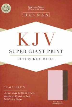 Kjv Super Giant Print Reference Bible, Pink/Brown Leathertou