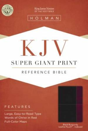 Kjv Super Giant Print Reference Bible, Black/Burgundy Leathe