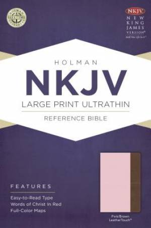 NKJV Large Print Ultrathin Reference Bible, Pink/Brown Leath