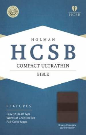 HCSB Compact Ultrathin Bible, Brown/Chocolate Leathertouch