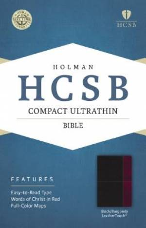 HCSB Compact Ultrathin Bible, Black/Burgundy Leathertouch