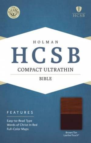 HCSB Compact Ultrathin Bible, Brown/Tan Leathertouch