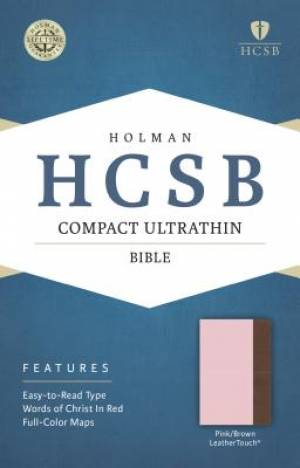 HCSB Compact Ultrathin Bible, Pink/Brown Leathertouch