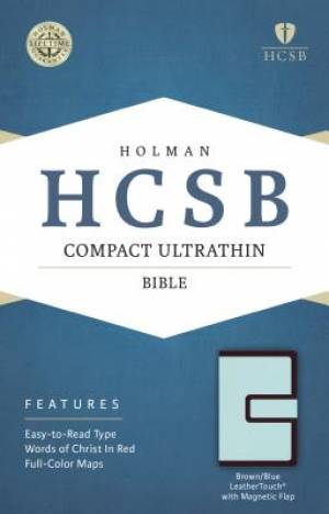 HCSB Compact Ultrathin Bible, Brown/Blue Leathertouch With M