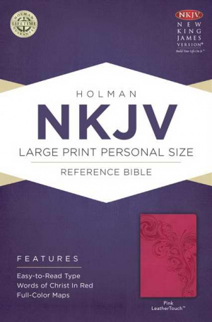 NKJV Large Print Personal Size Reference Bible, Pink Imitation Leather