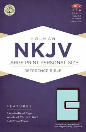 Nkjv Large Print Personal Size Reference Bible, Brown/blue Leathertouc