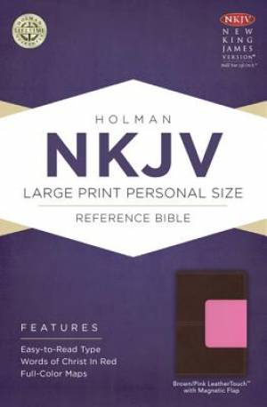 NKJV Large Print Personal Size Reference Bible, Brown Pink Imitation Leather