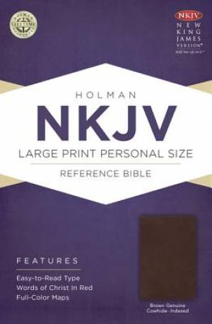 Nkjv Large Print Personal Size Reference Bible, Brown Genuine Cowhide