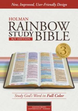 KJV Rainbow Study Bible; Mantova Brown LeatherTouch, Indexed