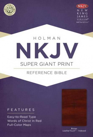 Nkjv Super Giant Print Reference Bible, Brown Leathertouch Indexed