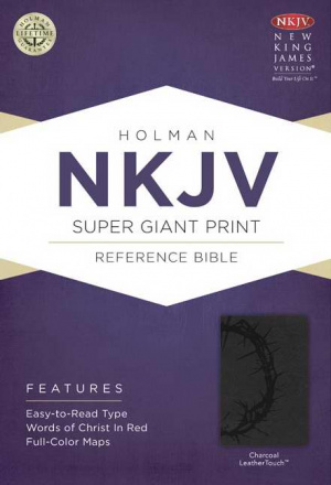 Nkjv Super Giant Print Reference Bible, Charcoal Leathertouch