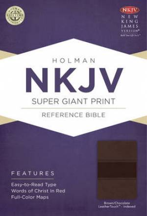 Nkjv Super Giant Print Reference Bible, Brown/chocolate Leathertouch
