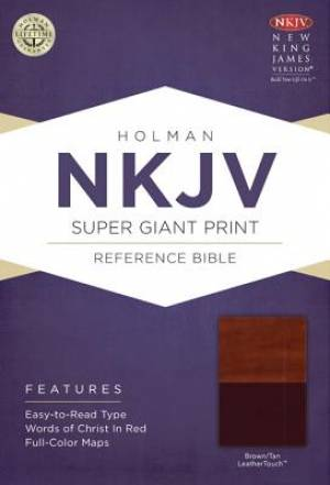 Nkjv Super Giant Print Reference Bible, Brown/tan Leathertouch