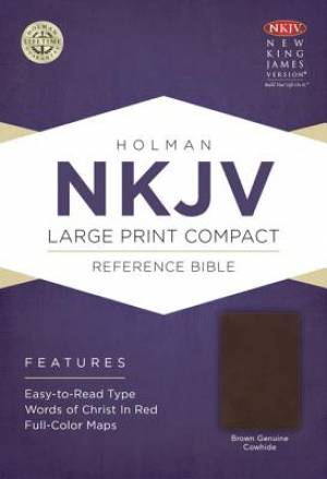Nkjv Large Print Compact Reference Bible, Brown Geniune Cowhide