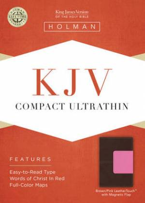 Kjv Compact Ultrathin Bible, Brown/pink Leathertouch With Magnetic Fla