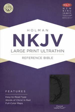 NKJV Large Print UltraThin Reference Bible, Imitation Leather Charcoal