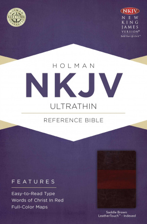 NKJV UltraThin Reference Bible, Saddle Brown Imitation Leather Thumb-Indexed
