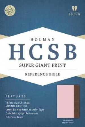 HCSB Super Giant Print Reference Bible, Pink/Brown Leatherto