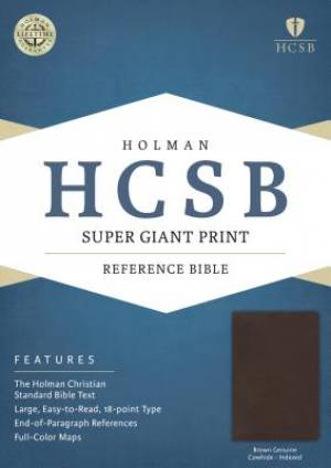 HCSB Super Giant Print Reference Bible, Brown Genuine Cowhid