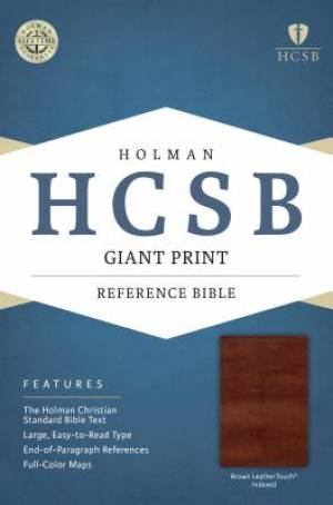 HCSB Giant Print Reference Bible, Brown Leathertouch Indexed