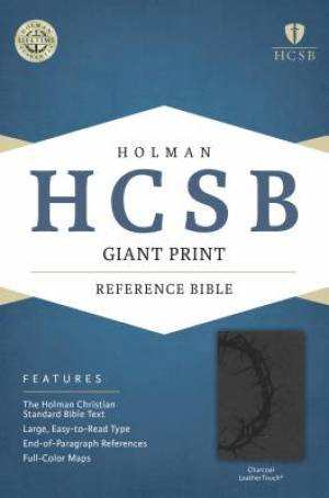 HCSB Giant Print Reference Bible, Charcoal Leathertouch