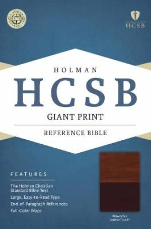 HCSB Giant Print Reference Bible, Brown/Tan Leathertouch