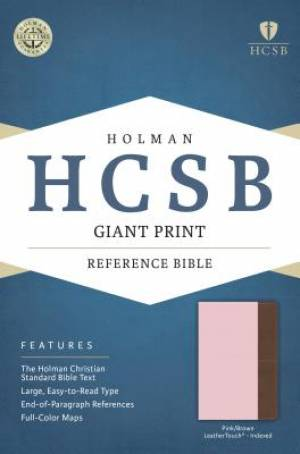 HCSB Giant Print Reference Bible, Pink/Brown Leathertouch In
