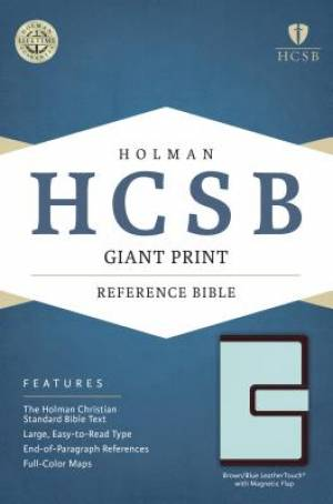 HCSB Giant Print Reference Bible, Brown/Blue Leathertouch Wi