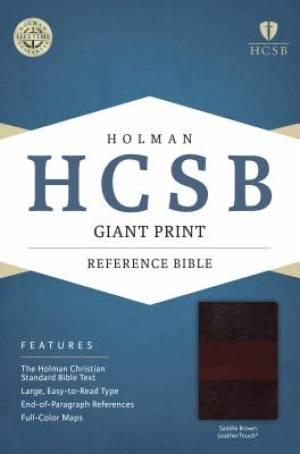 HCSB Giant Print Reference Bible, Saddle Brown Leathertouch