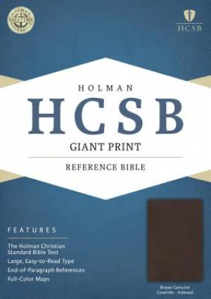 HCSB Giant Print Reference Bible, Brown Genuine Cowhide Inde