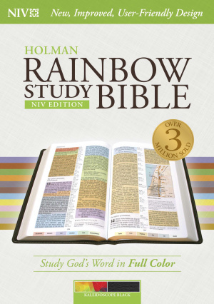 NIV Rainbow Study Bible Indexed Kaleidoscope Black LeatherTouch
