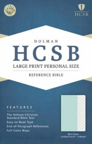 HCSB Large Print Personal Size Bible, Mint Green Leathertouc
