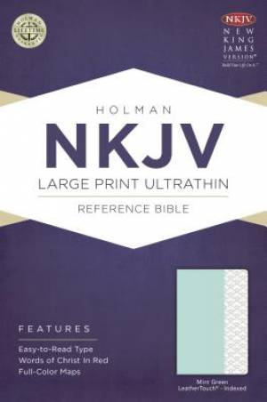 NKJV Large Print Ultrathin Reference Bible, Mint Green Leath