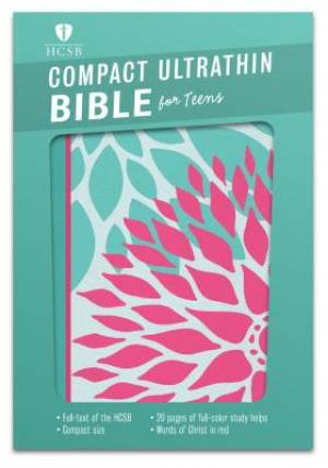 HCSB Compact Ultrathin Bible For Teens, Green Blossoms Leath