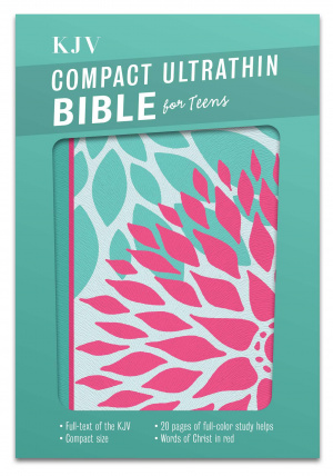 Kjv Compact Ultrathin Bible For Teens, Green Blossoms Leathe