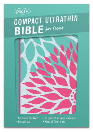 NKJV Compact Ultrathin Bible For Teens, Green Blossoms Leath