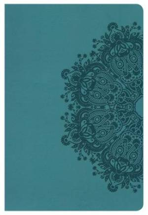 Hcsb Large Print Personal Size Bible, Teal Leathertouch, Ind