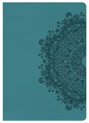 Kjv Large Print Compact Reference Bible, Teal Leathertouch