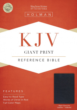 KJV Giant Print Reference Bible, Black Genuine Leather Index