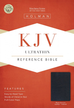 KJV Ultrathin Reference Bible, Black Genuine Leather Indexed