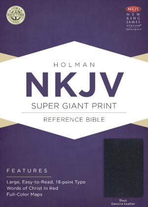 NKJV Super Giant Print Reference Bible, Black Genuine Leathe
